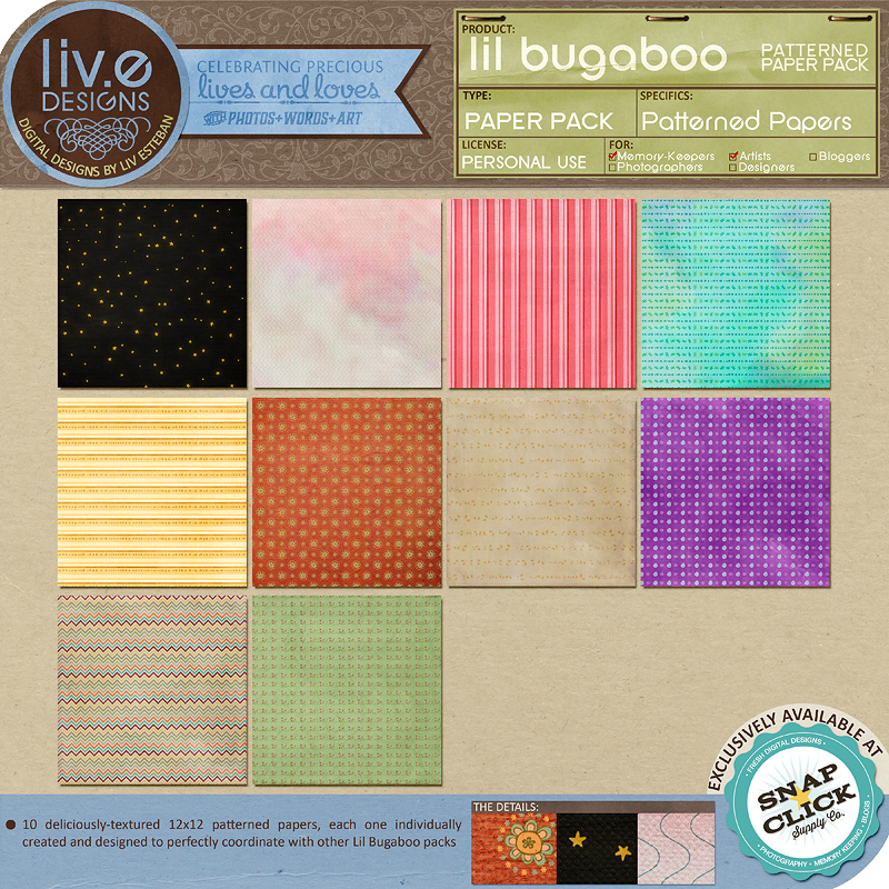 "Here's a ""full-page"" look at each of the 10 patterned papers in this pack."