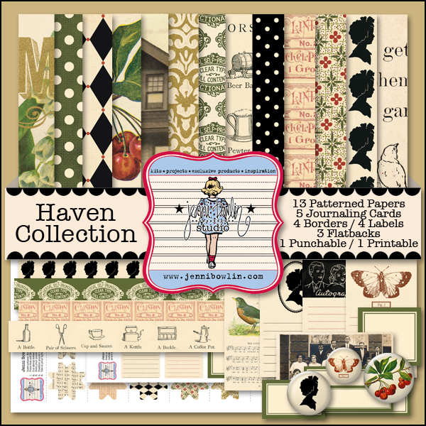 Haven Collection includes patterned paper, journaling cards, flatbacks, borders, printables, and punchables.  This is sold separately.