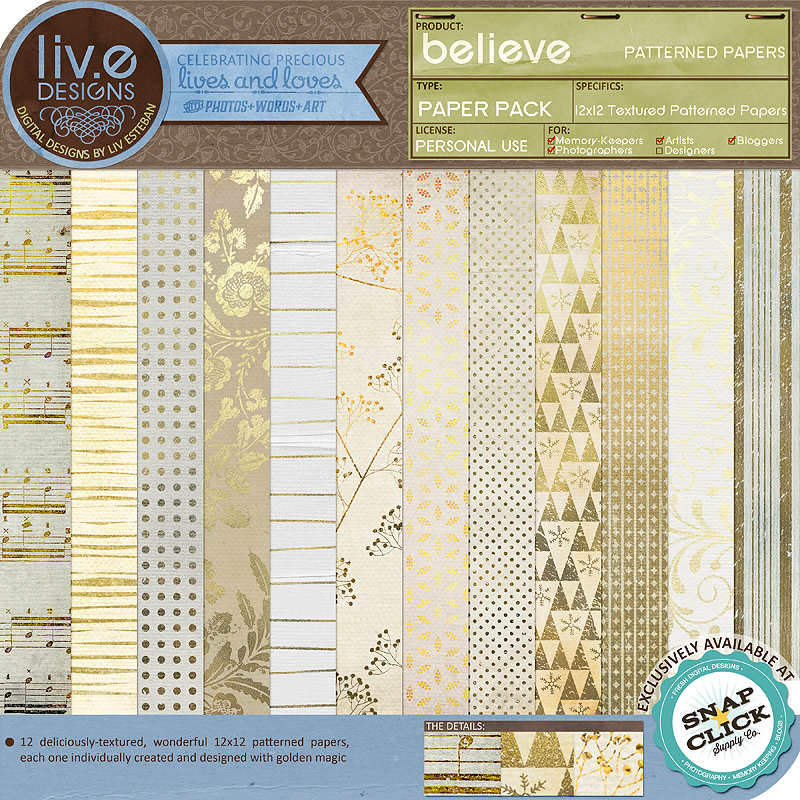 liv.edesigns Believe Patterned Papers
