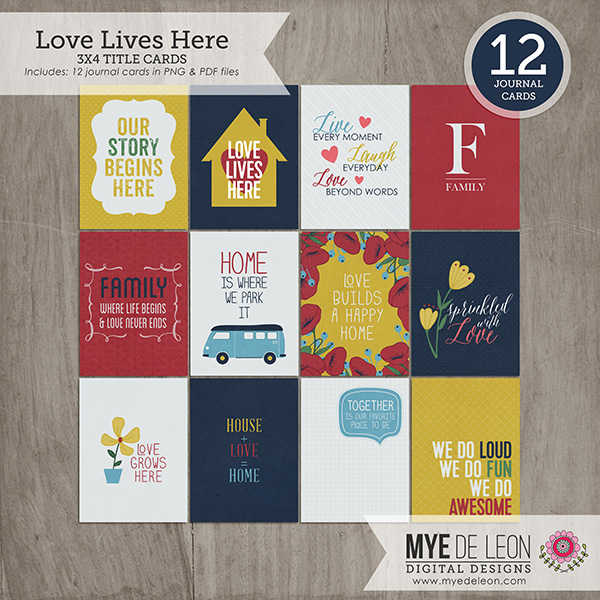 Love Lives Here | 3x4 Title Cards