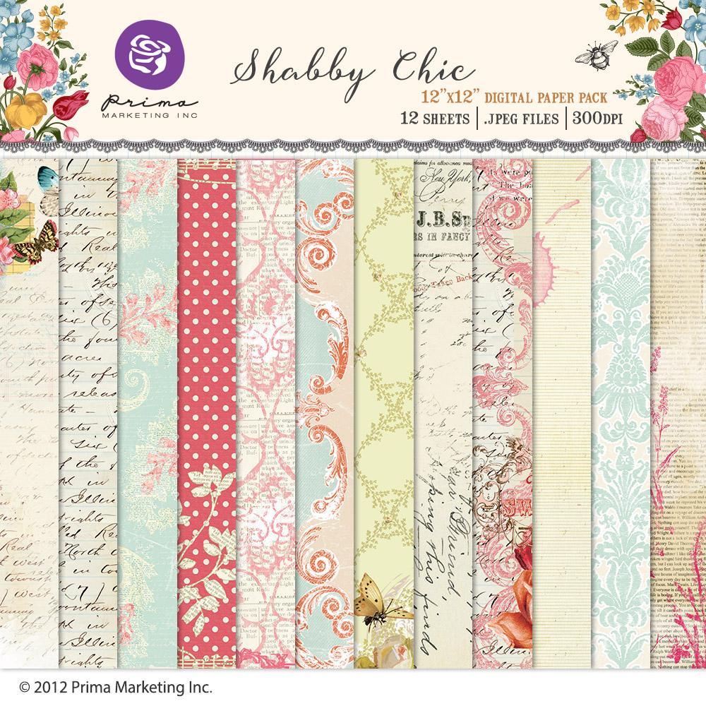 Shabby Chic digital paper pack