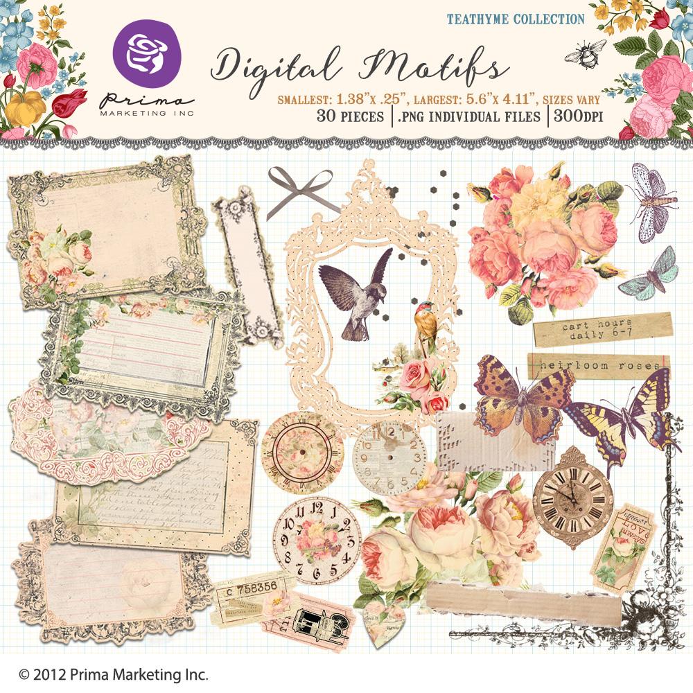 Tea Thyme digital motifs