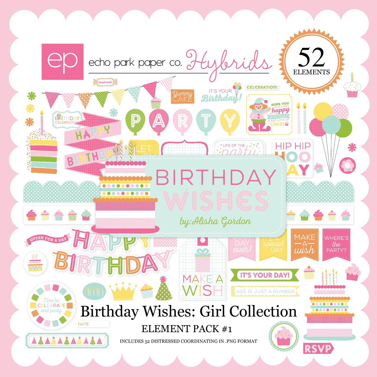 Birthday Wishes: Girl Element Pack #1