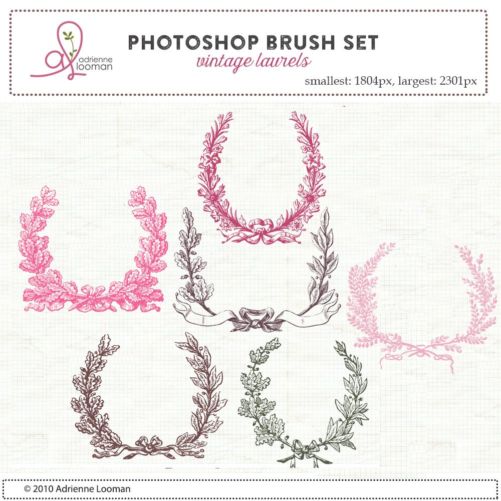 Vintage Laurels Photoshop Brush set