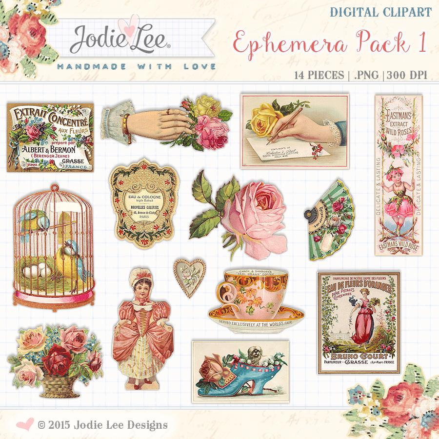 Ephemera Pack #1 Digital Clipart by Jodie Lee