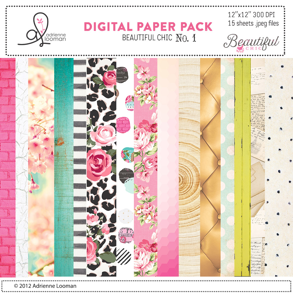 Beautiful Chic digital paper pack no.1