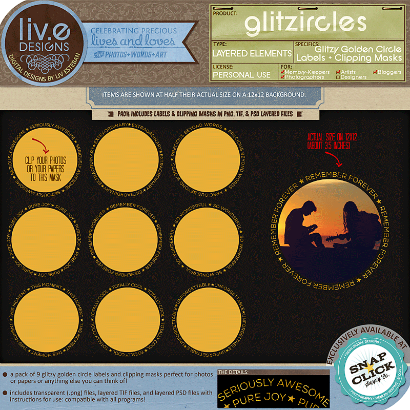 liv.edesigns Glitzircles - Labels & Clipping Masks