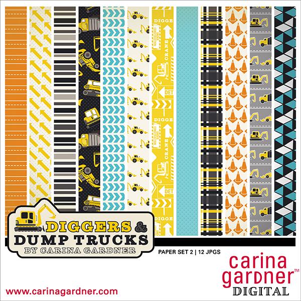 Diggers and Dump Trucks Paper Pack 2