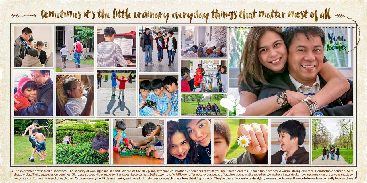 This layout was created by me to celebrate the little things that make up precious moments. :)