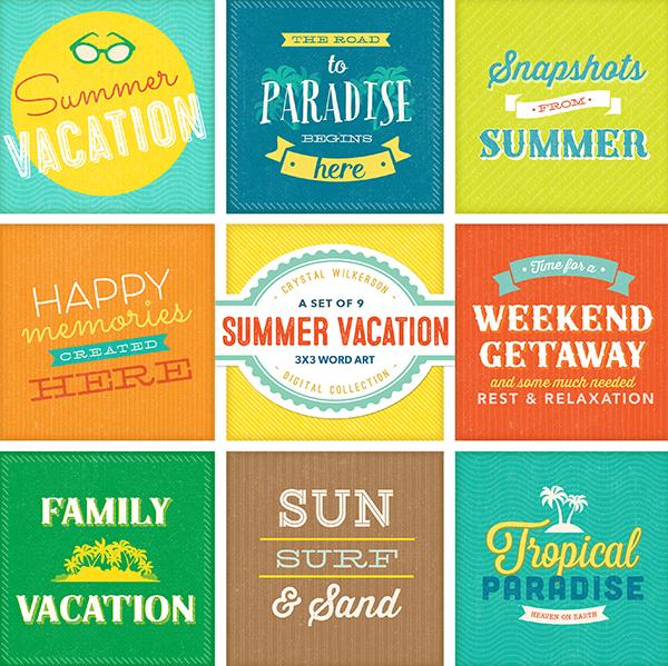 Summer Vacation - Word Art