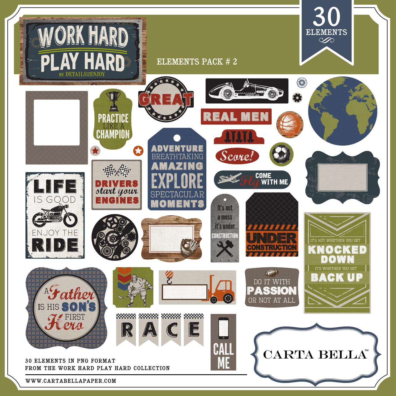 Work Hard Play Hard Element Pack 2