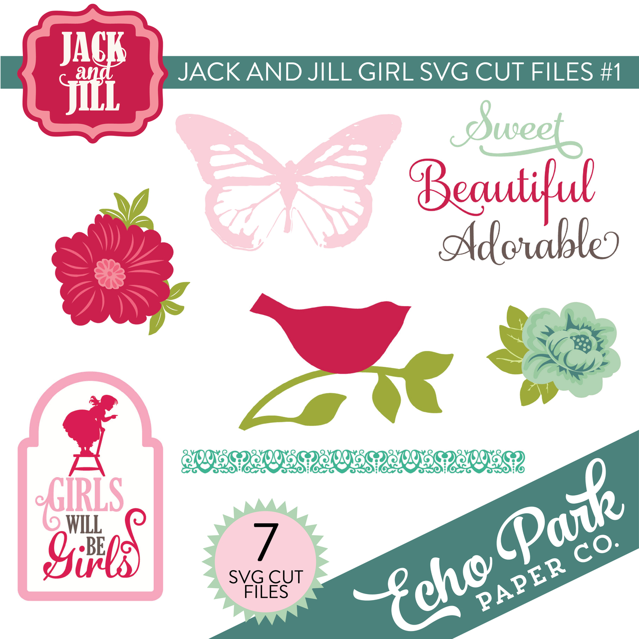 Jack and Jill - Girl SVG Cut Files #1