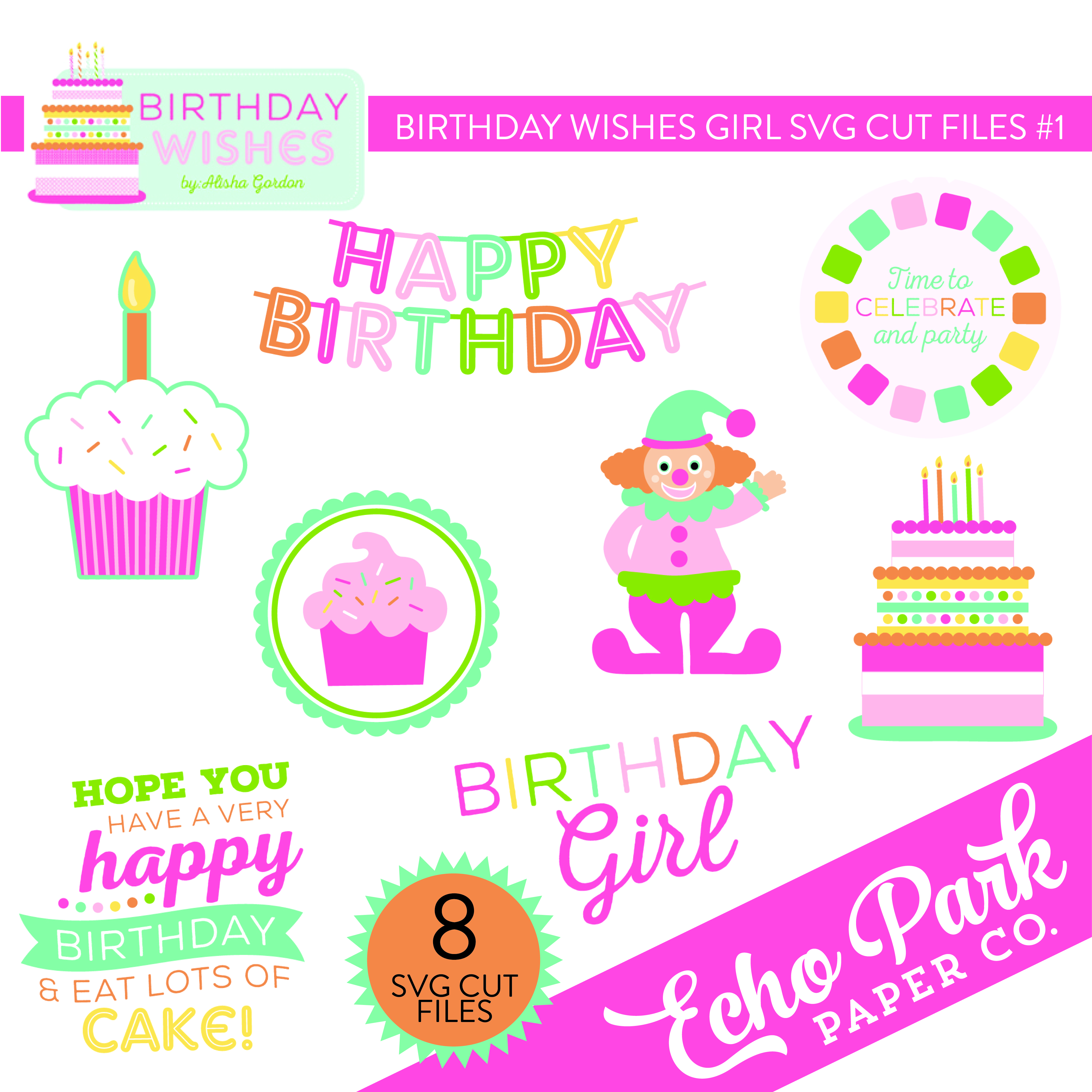 Birthday Wishes Girl SVG Cut File #1