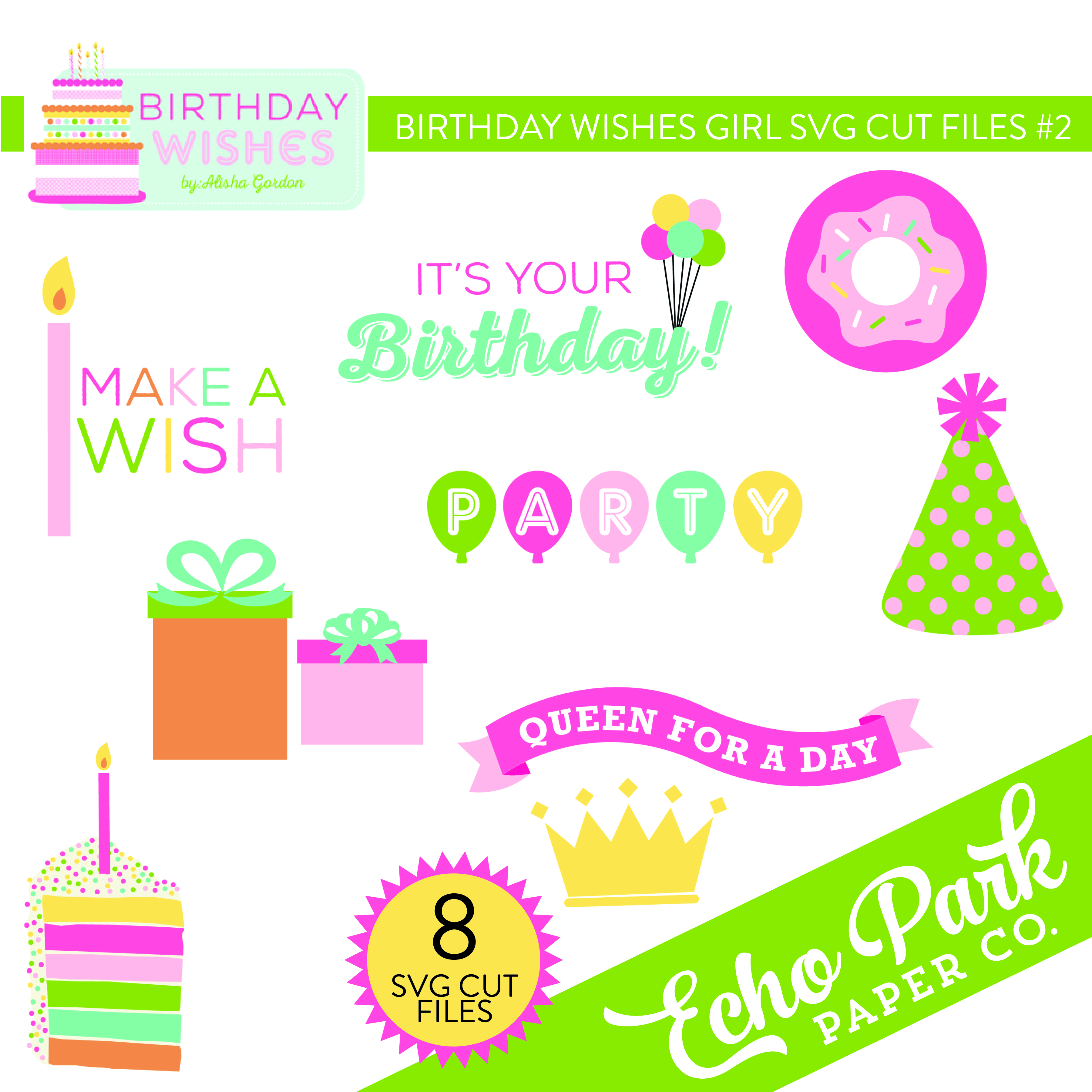 Birthday Wishes Girl SVG Cut File #2