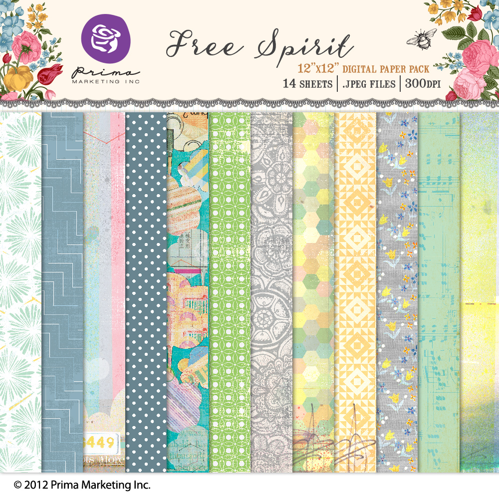 Free Spirit digital paper pack