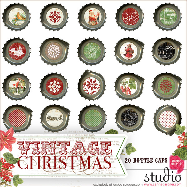 VINTAGE CHRISTMAS Bottle Caps