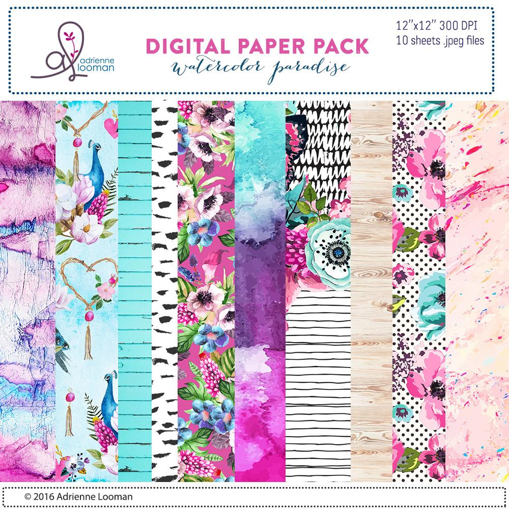 Watercolor Paradise Paper Pack