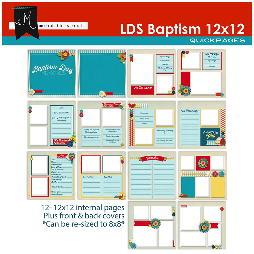LDS Baptism QuickPages 12x12