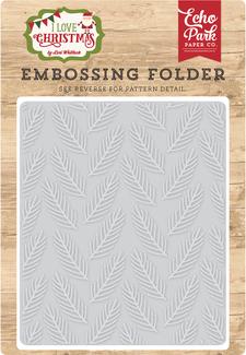 I Love Christmas Embossing Folder - Pine Boughs