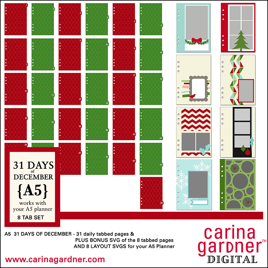 A5 31 Days of December 8 Tabbed Pages Full Set