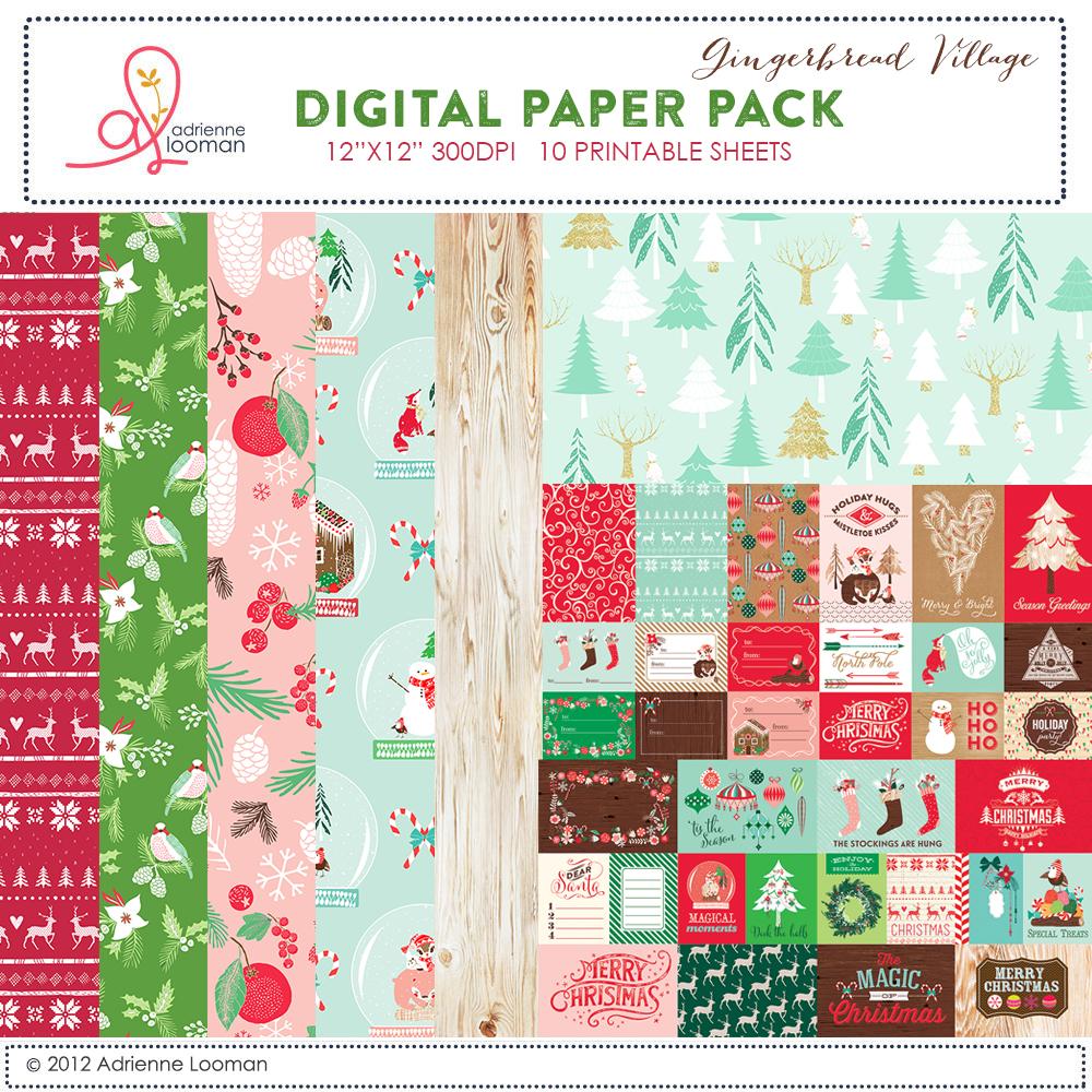 Gingerbread Village paper pack