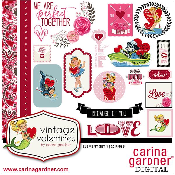 Vintage Valentine's Element Pack