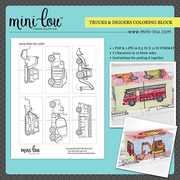 Trucks and Diggers Coloring Blocks Printable