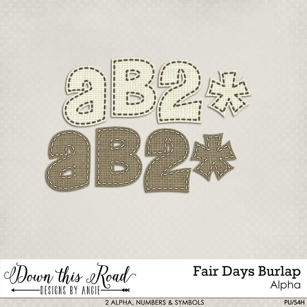 Fair Days Burlap Alpha