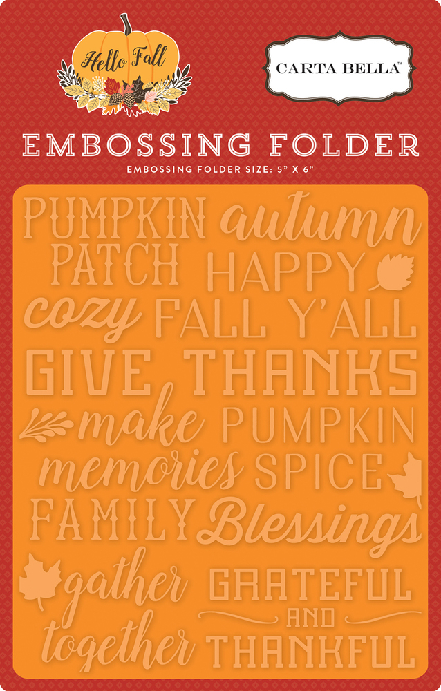 Hello Fall Embossing Folder - Give Thanks