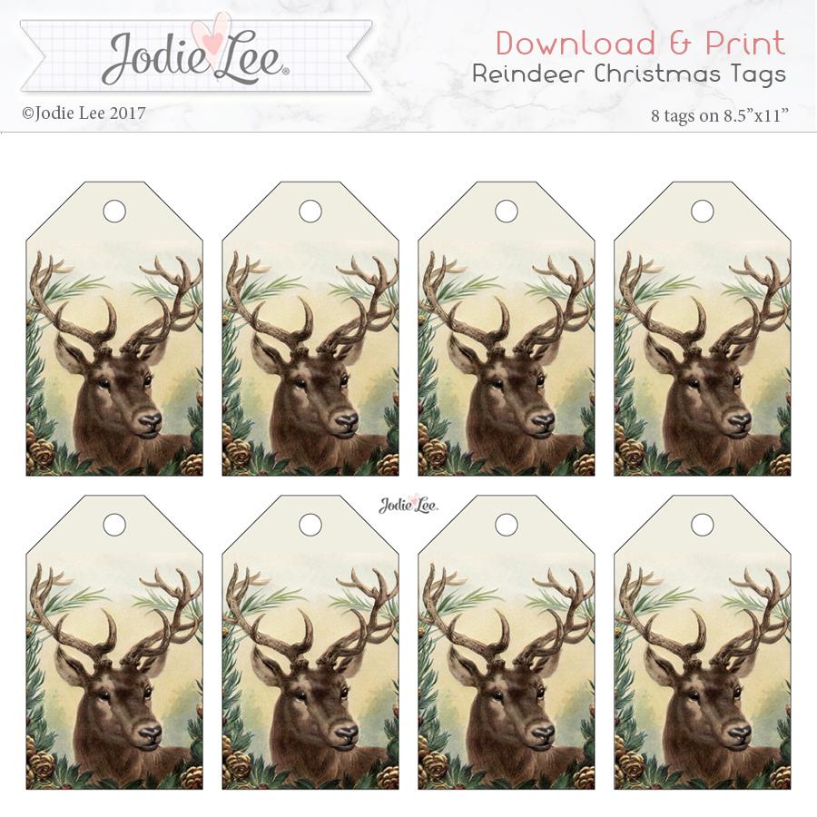 Printable Reindeer Christmas Gift Tags - preview