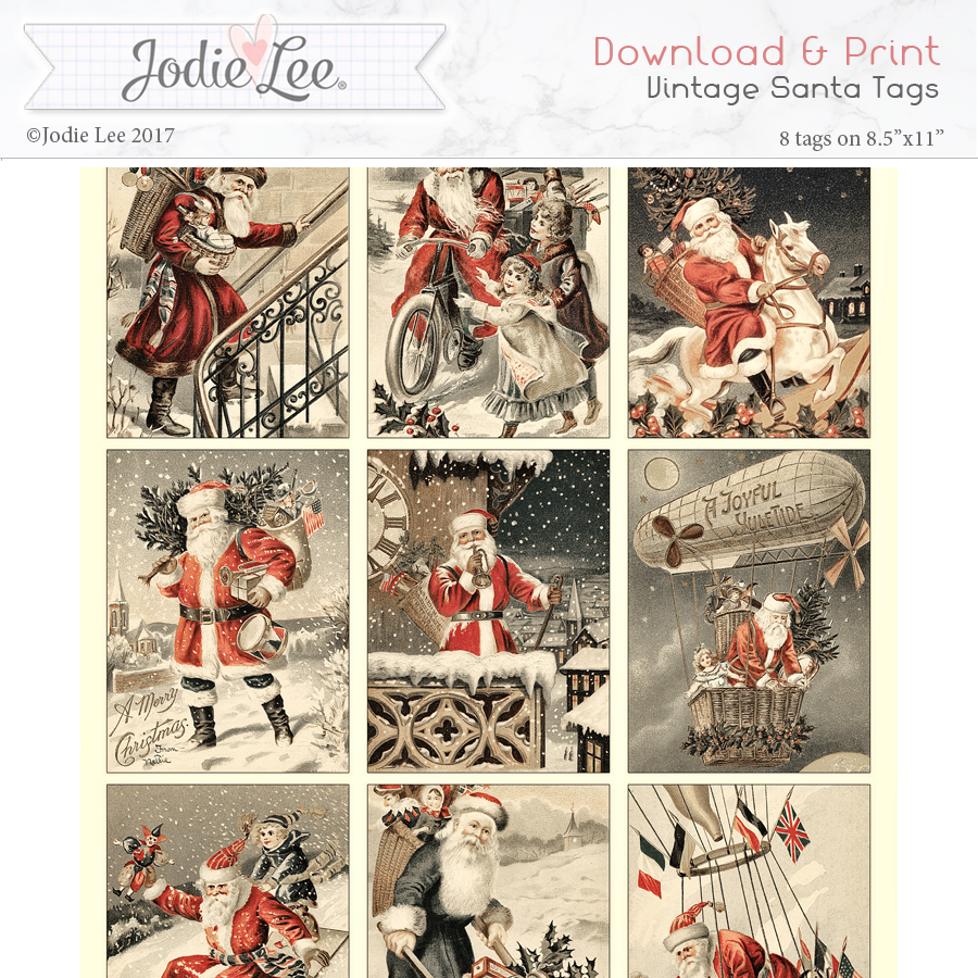 Printable Christmas Tags - Santa (retro)