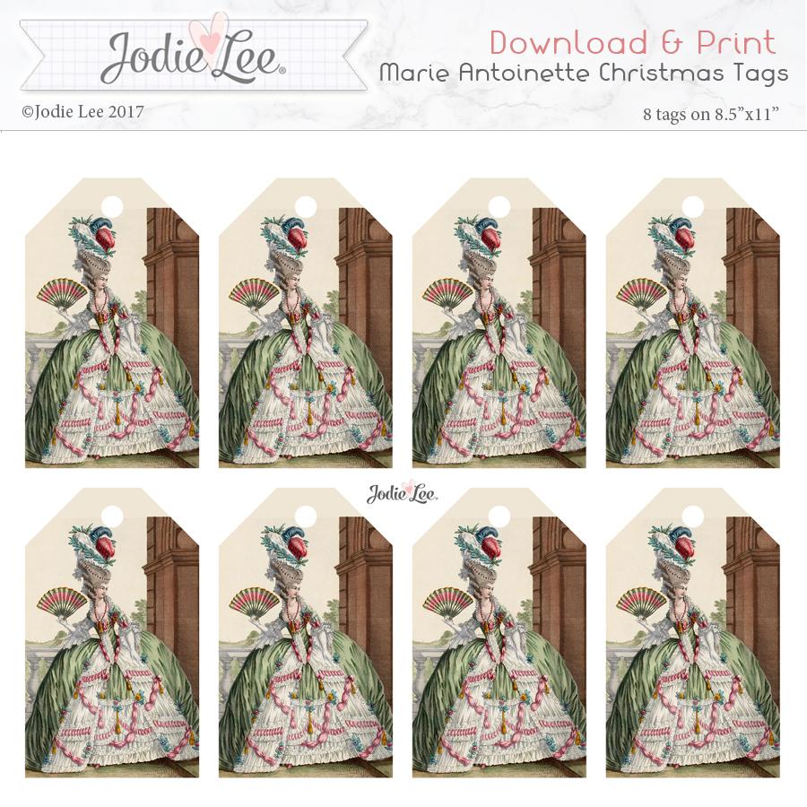 Printable Christmas Tags - Marie Antoinette