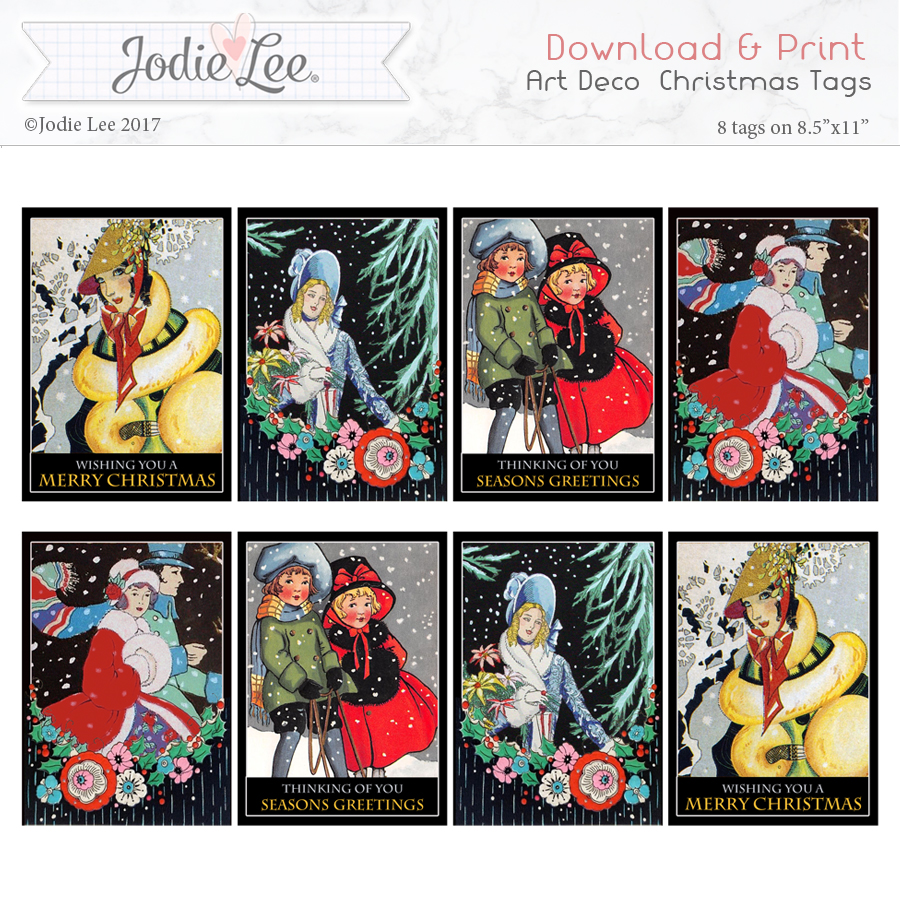 Printable Christmas Tags - Pretty Art Deco