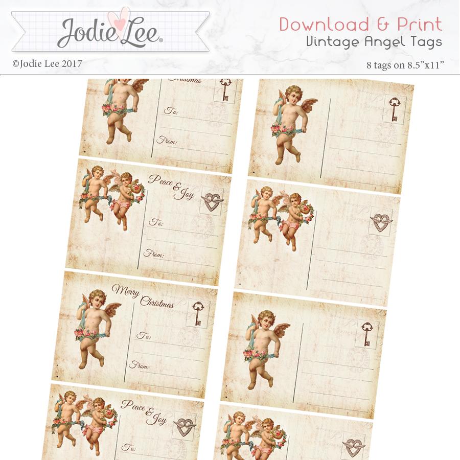 Printable Christmas Tags - Vintage Angels