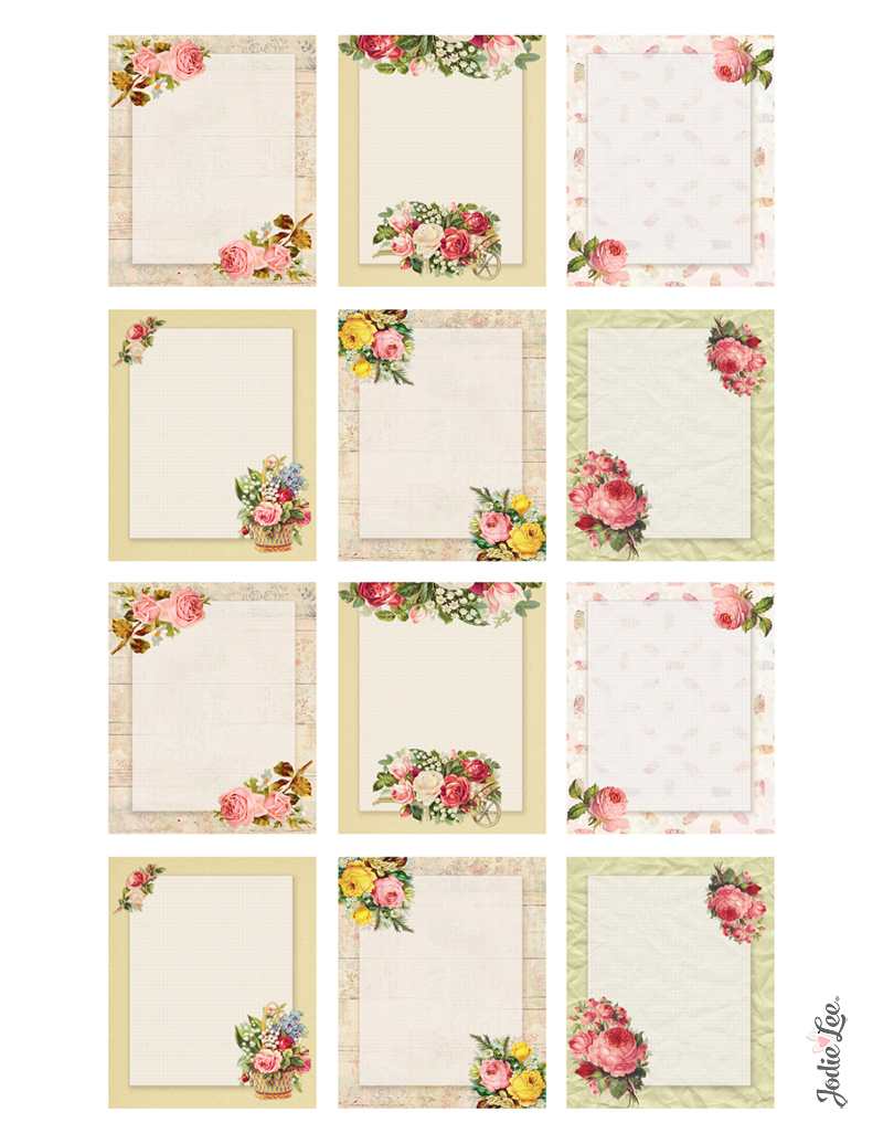 Printable Journal Cards - Vintage Roses