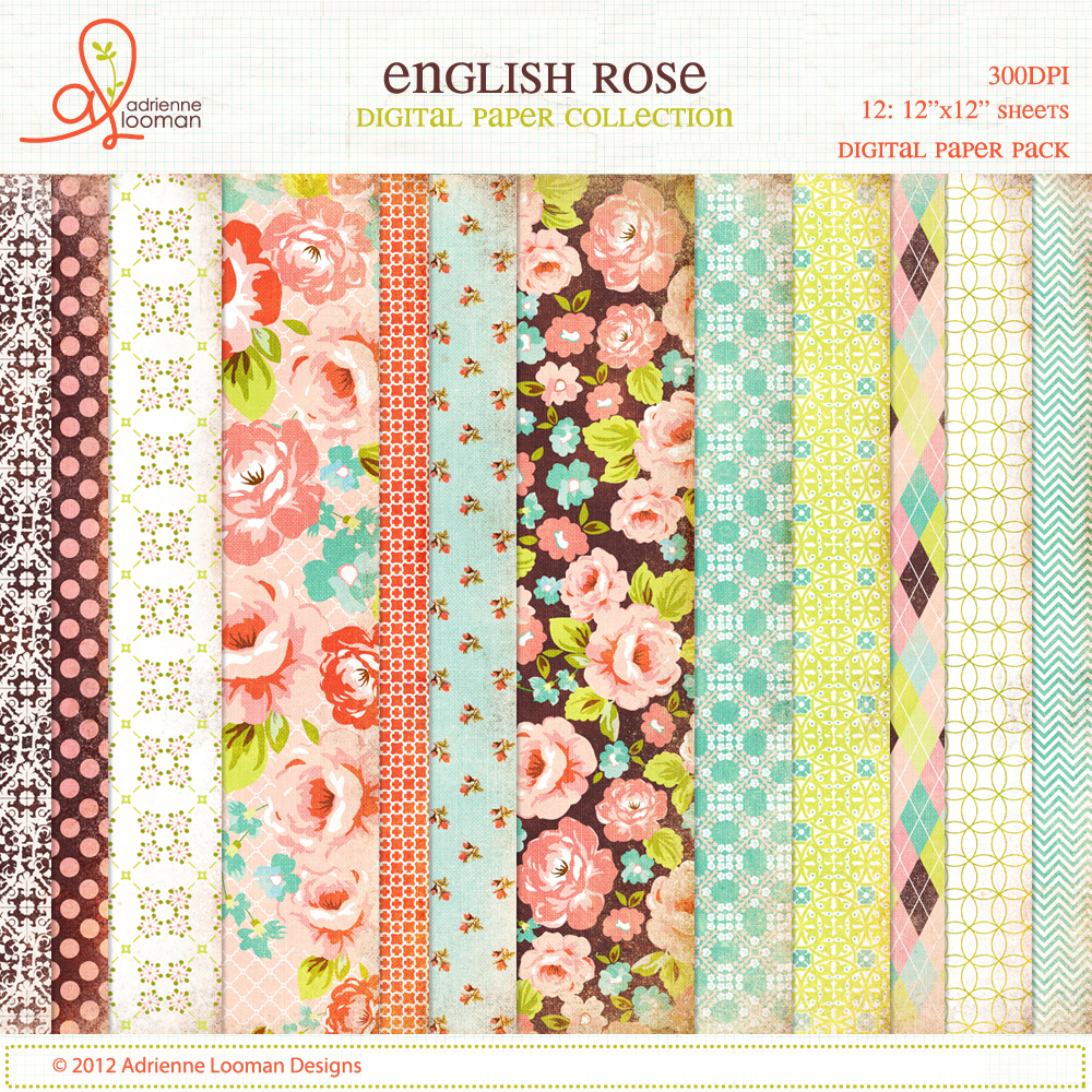 Paper pack English Rose