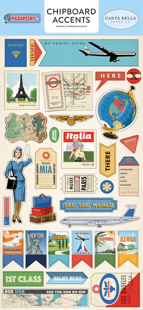 Passport Chipboard Accents
