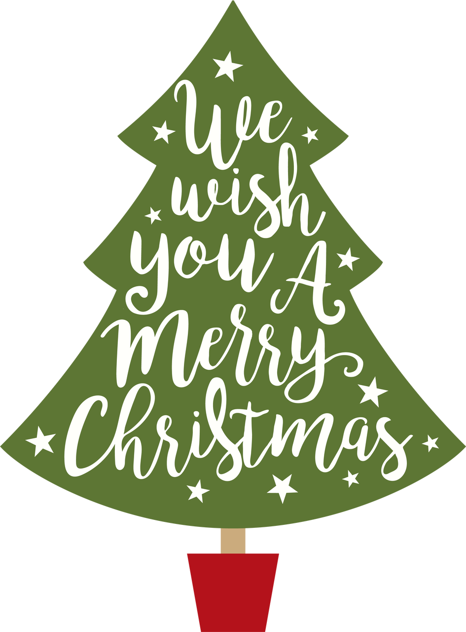 sports shoes 14af5 0f139 Wish You A Merry Christmas Tree SVG Cut File