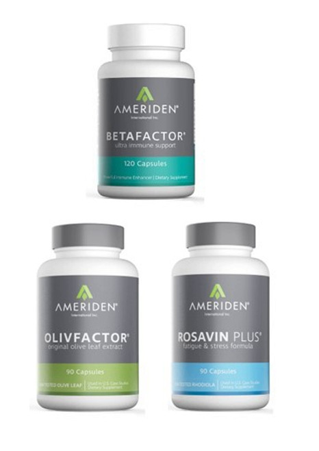 IMMUNI-TEAM PACKAGE D:   1 BOTTLE OF EACH BETAFACTOR, OLIVFACTOR & ROSAVIN PLUS RETAIL $155.85		25% $116.89               CLICK HERE
