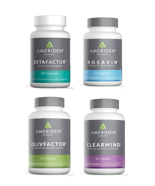 IMMUNI-TEAM PACKAGE C:   1 BOTTLE OF EACH BETAFACTOR, OLIVFACTOR, CLEARMIND & ROSAVIN  RETAIL $180.80		25% $135.60