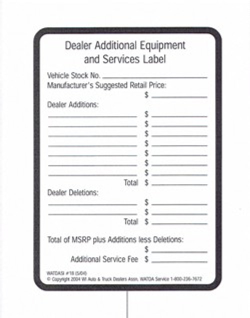 Dealer Supplemental Price Label