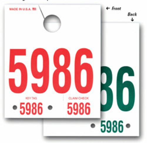 """5-1/2"""" x 6-1/2"""" White 100# Tag Stock Prints Red on Front, Green on Back Padded 100 per pad on top Packages of 1000  Quantity Discount at 3 packages"""