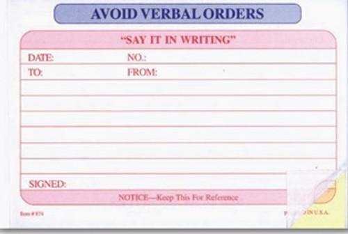 Avoid Verbal Orders Book