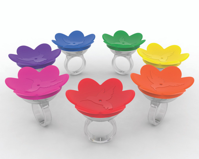 All seven colors of the ZUMMR Hummingbird Rings.