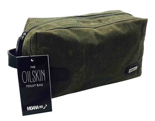 Men's oilskin toilet bag, Moana Rd, olive.