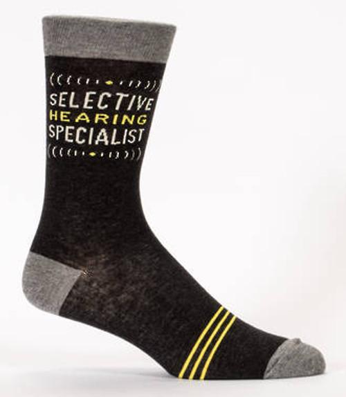Blue Q men's socks, Selective hearing specialist.