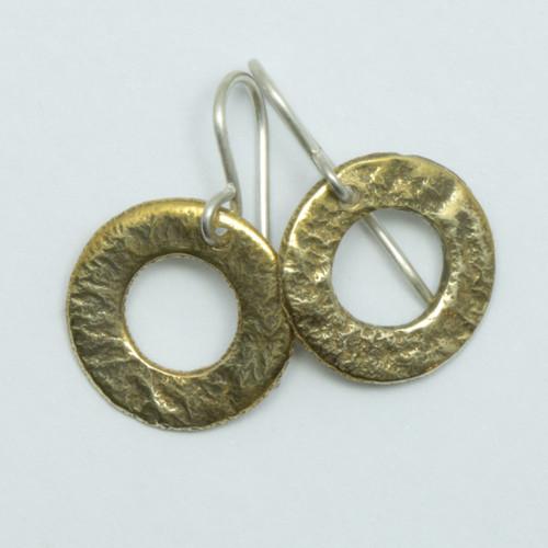 Reticulated brass pirori hoop earrings, hand made in NZ, Juston Ferguson,