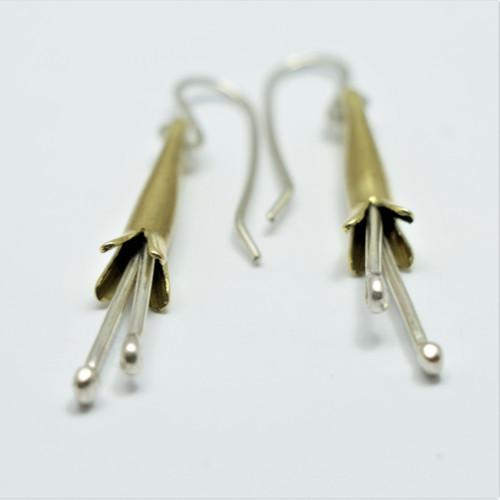 Silver and brass putiputi flower earrings, Justin Ferguson.