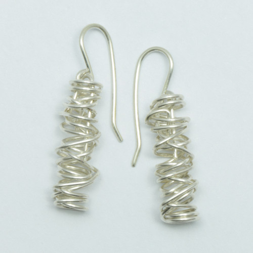 Silver wire woven live wire earrings, hand made in NZ, Justin Ferguson,