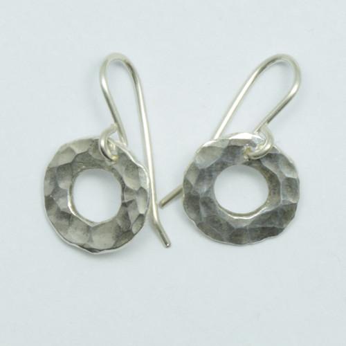 tiny silver pirori hoop earrings, hand made in NZ, Justin Ferguson,